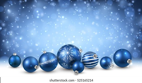 New Year background with blue Christmas balls. Vector illustration.