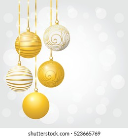 New Year background with Christmas balls. Vector illustration