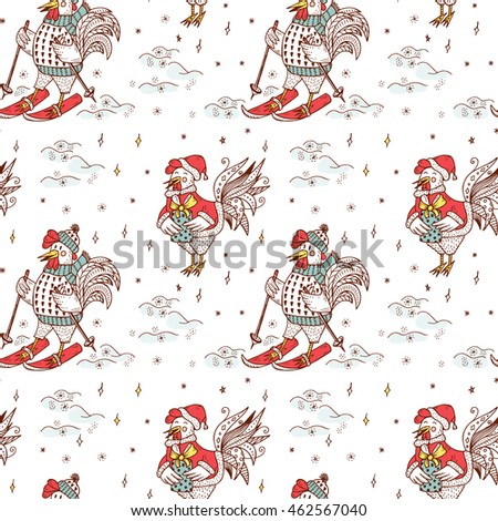 new year background cute cartoon roosters vector seamless pattern hand drawn doodle cocks