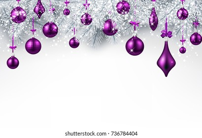 New Year background with fir branches and purple Christmas balls. Vector illustration.