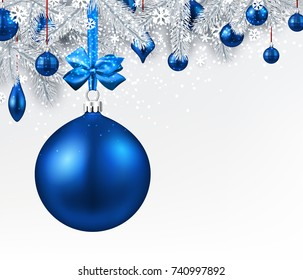 New Year background with fir branches and blue Christmas balls. Vector illustration.
