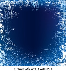 New Year background. Frosted glass texture. Night frosted window. Vector illustration