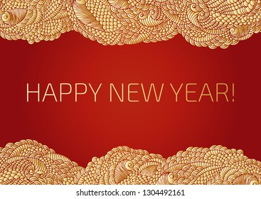 A New year background with golden Chinese lights and a garland. Happy new year text