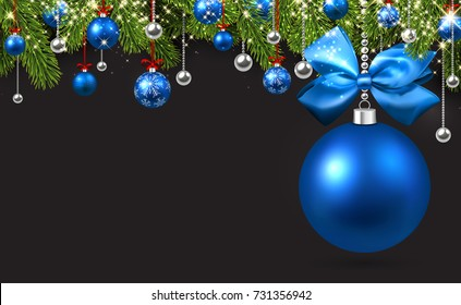 New Year background with spruce branches and blue Christmas balls. Vector illustration.