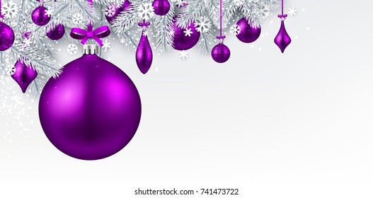 New Year background with spruce branches and purple Christmas balls. Vector illustration.