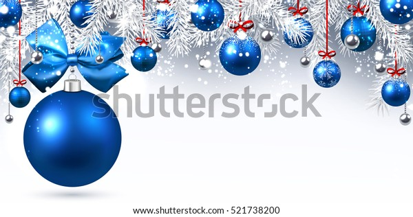Neujahrsbanner mit blauen Weihnachtsbällen. Vektorgrafik.