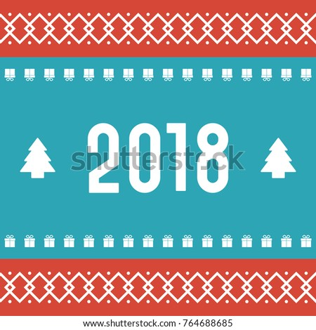 new year banner classic christmas pattern with red and blue colors vector illustration