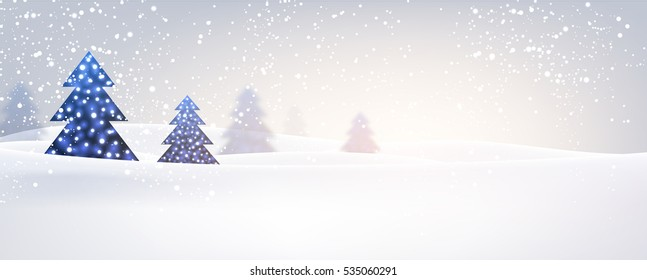 New Year banner with original blue Christmas trees. Vector illustration.