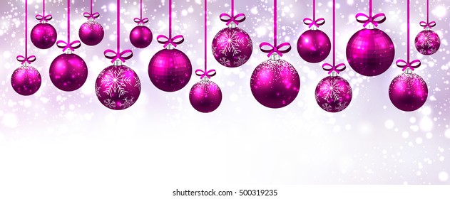 New Year banner with pink Christmas balls. Vector illustration.