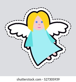 New Year big angel patch isolated illustration. Light blue long dress. Fair hair and blue eyes. Small flying girl. White straightened wings. Simple cartoon style. Flat design. Front view. Vector