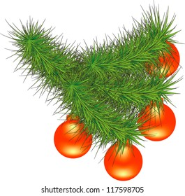 New Year branch of pine. Vector illustration