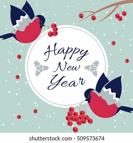 New Year Bullfinch and New Year Rowan Tree Branch NewYear Wish Postcard with Bullfinches,Rowan Branches and Round Frame Edging Dotted Line.Happy New Year Wish Postcard with New Year Bird Snowflakes