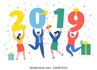 New Year business concept. Business people holding numbers 2019. Office Team are preparing to meet the new year. Flat design, vector illustration.