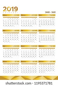 new year calendar 2019 with hijri date 1440 in clean minimal table simple style week