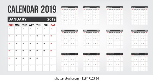 New year Calendar 2019 template. Vector template calendar 2019 isolated. Planer for the new year minimalist style.