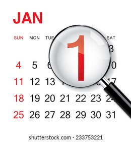 New Year Calendar on white background