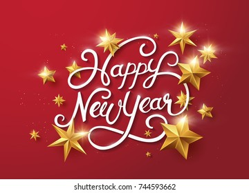 new year with calligraphic text with golden star.Vector illustration template.greeting cards.