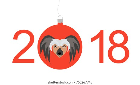 new year card 2018happy new year 2018 red dog merry christmas blue