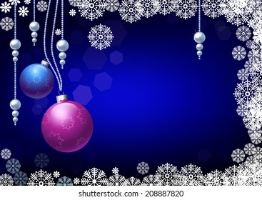 New year card with christmas balls