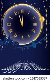 New Year card. the clock shows the onset of the new year. the plane lands in the new year, golden balls. gold serpentine. clocks, decorative holiday decorations.