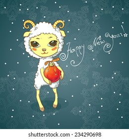 new year card cute sheep holding a christmas toy