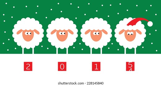 New year card with four sheep on green