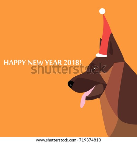 new year card with a german shepherd