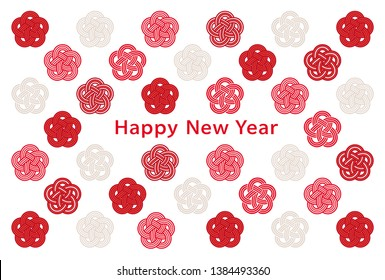 new year card with Japanese apricot icons.