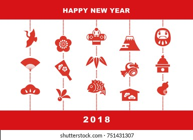 New Year card with Japanese good luck elements, pine leaf, bamboo leaf, plum flower, red snapper, crane, spinning top, hand fan, tumbling doll, Mt.Fuji and kite