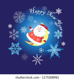 New Year card with merry Santa Claus on blue background with snowflakes