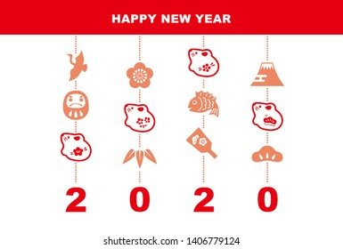"New Year card with mouse dolls and good luck elements ""pine leaf, bamboo leaf, plum flower, red snapper, crane, tumbling doll, Mt.Fuji and crane"" for 2020"