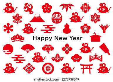 new year card with mouse and Japanese icon.