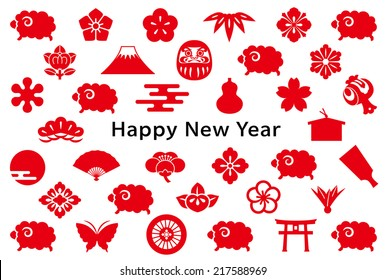 new year card with sheep and Japanese icons.