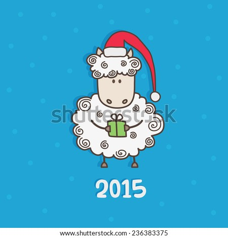 new year card with sheep vector illustration