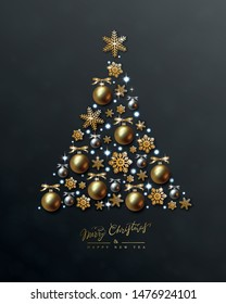 New Year card with a silhouette of Christmas tree made of golden snowflakes, balls and holiday lights on black background. Holiday Vector Design