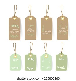 New year card Tag and Label on paper with nature element and text design