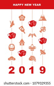 """New Year card with wild pig doll and good luck elements """"pine leaf, bamboo leaf, plum flower, red snapper, crane, spinning top, tumbling doll, Mt.Fuji and kite"""" for 2019"""