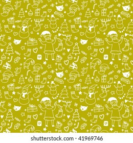New year cartoon seamless pattern in green for stylish backgrounds