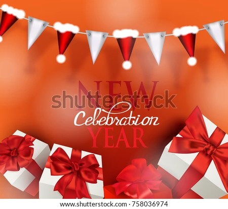 new year celebration banner with garland with santas hats and gift boxes vector illustration