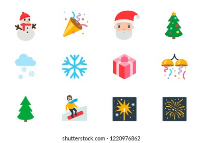 New year celebration icons, Happy Christmas gift vector illustration flat style symbols, emoji emoticons set, collection.