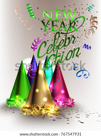 new year celebration invitation card with christmas deco objects vector illustration