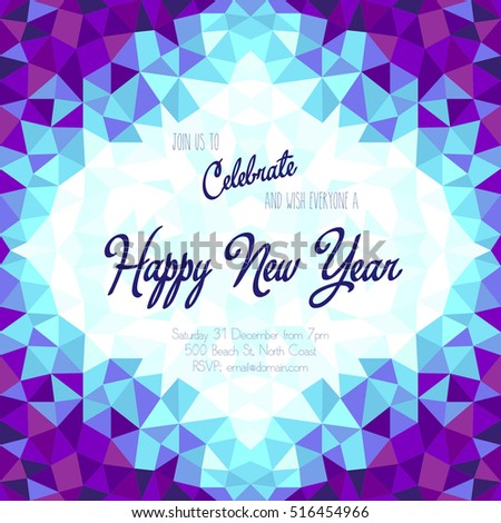 new year celebration invitation with geometric frame