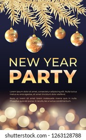New year celebration party banner with golden Christmas tree, balls and bokeh lights. Vector illustration. Background for flyers, invitations, web or apps