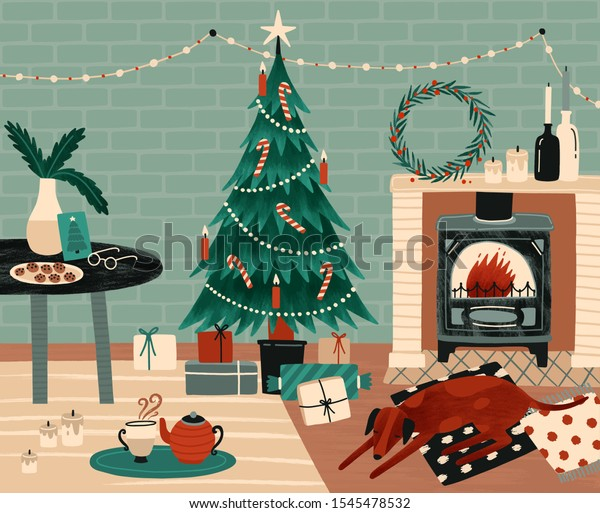 New Year celebration preparation vector illustration. Christmas festive atmosphere. Home coziness, Xmas celebration. Decorated Christmas tree and fireplace in room. Winter holidays attributes.