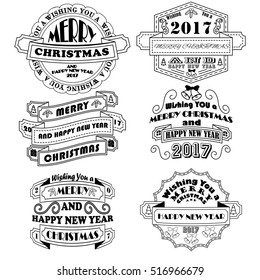 New Year and Christmas badges 2017