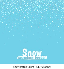 New Year, Christmas border, frame template. Seamless in horizontal direction. Winter background, hand drawn falling snow texture, uneven round fading chaotic dots, snowflakes, flakes, pearls, beads.