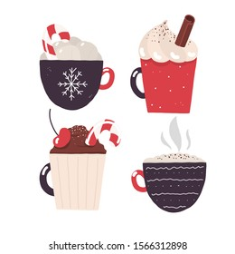 New year christmas cacao and coffee collection. Happy new year card decoration. Cacao sweet drink. Vector cacao sweet dessert. Chocolate design. Cocoa set.