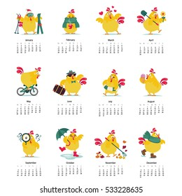 New year and Christmas calendar card poster banner.Set of funny chicken, hen in various poses, vector illustration isolated on white background.Colorful set chicken running, standing, sitting. Easter