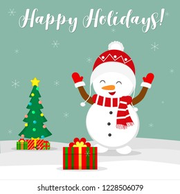 New Year and Christmas card. Cute snowman in a hat rejoices gift. Christmas tree and boxes with gifts in the winter against the background of snowflakes. Cartoon style, vector.