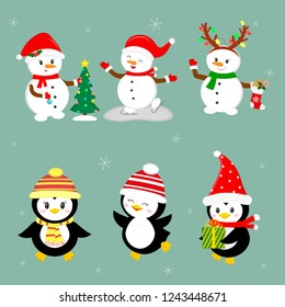 New Year and Christmas card. A set of three penguins and three snowmen characters in different hats and poses in winter. Christmas tree, gifts, skate. Cartoon style, vector.